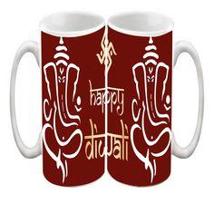 Efw Happy Diwali Coffee Mug Ganeshji Blessings Maroon Printed