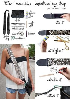 This would be a great re-use for my old broke strap. Rhinestone guitar strap messenger bag how-to.
