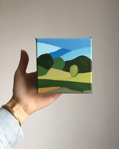 This little field in West Tisbury taking me back to greener days Small Canvas Paintings, Mini Canvas Art, Small Paintings, Aesthetic Painting, Guache, Minimalist Art, Acrylic Art, Geometric Art, Landscape Art