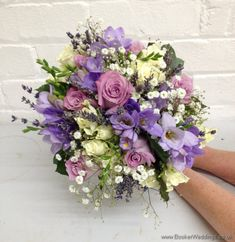 Just Picked but Neat Hand Tied Bridal Bouquet in Dusky Lilac and Gold with Lavender Roses, Lilac Freesia, Gypsophila, White spray roses, lavender | Wedding Flowers Liverpool, Merseyside - Specialist Bridal Florist | Flower Delivery Liverpool - Same Day Delivery option | Florist Liverpool | Flower & Gift Shop Liverpool