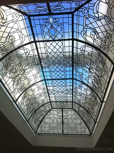 Geometric Victorian inspired design for this grand leaded glass dome. Notice how the small jewels and glass bevels keep the dome lively #InteriorDesign
