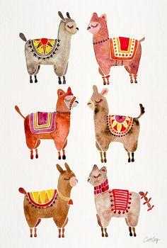 Alpacas by Cat Coquillette Llama illustration -- animal prints Art And Illustration, Illustrations, Watercolor Illustration, Alpacas, Images Lama, Cute Llama, Llama Llama, Llama Print, Llama Pictures