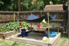 aménagement jardin bac à sable enfant aire de jeux