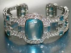 Raymond C Yard | Cabochon Aquamarine and Diamond Bracelet. | You can see the Rest of the Outfit and my Comments on this board.  -  Gabrielle