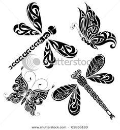stock vector : Butterflies and dragonflies.Tattoo design.