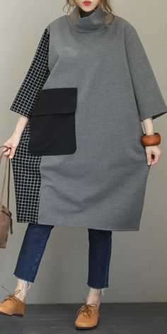 Fall Loose High Neck Cotton Dresses For Women - Cotton Dresses fall Hi .Fall Loose High Neck Cotton Dresses For Women - Cotton Dresses fall High Loose Fall fashion for menNo-Excess High Neck Trend Fashion, Hijab Fashion, Boho Fashion, Fashion Dresses, Womens Fashion, Fashion 2018, Fall Fashion, Mode Abaya, Mode Hijab