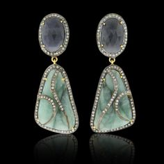 Emerald, Deep Blue Sapphire & Diamond Earring - JYOTI #color #happy #collection #emerald #blue #diamond #sapphire #earring #designer #JYOTI #couture #jewelry