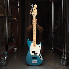 Fender Offset Series Mustang Bass PJ Lake Placid Blue w/Mint Pickguard (CME Exclusive) Pre-Order Bass Ukulele, Bass Guitars, Lake Placid Blue, Fender Vintage, Mustang, Instruments, Bench, Hot, Sexy