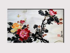 X LARGE CANVAS 18  x32   WALL ART CHINESE FLOWER BUTTERFLY INK PRINT PICTURE 230