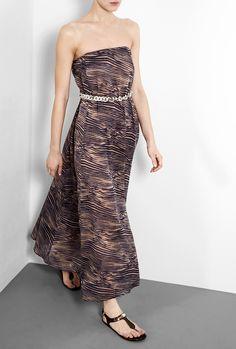Zebra Print Dreamer Strapless Chain Maxi Dress by Zimmermann