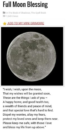 Full moon blessing - Pinned by The Mystic's Emporium on Etsy