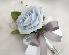 Artificial Wedding Flowers, Brides Posy Bouquet with Mint Green, Grey and White Roses with brooches, crystals and diamantes Beach Wedding Headpieces, Headpiece Wedding, Baby Blue Weddings, Winter Weddings, Blue Wedding Flowers, Flower Bouquet Wedding, Bridesmaid Headband, Artificial Wedding Bouquets, Foam Roses