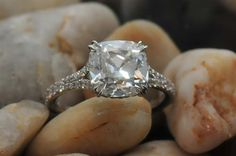 split shank micropave ring by Leon Mege with 1.71ct E VS1 August Vintage Cushion