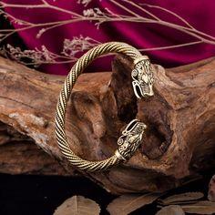 Metal Wolf Head Male Bracelet Indian Jewelry Vintage Accessories Viking Bracelet Men Wristband Cuff Bracelets For Women Bangles