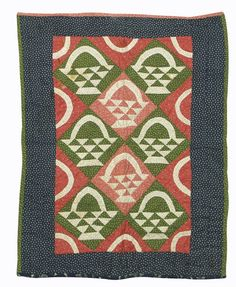 "Baskets Crib Quilt w/ Blue Star Calico Border, c. 1870-80, 27"" x 34"", Dan Morphy Auctions, Live Auctioneers"