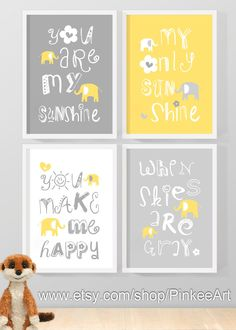 yellow grey you are my sunshine baby decor my by PinkeeArt on Etsy, $29.00