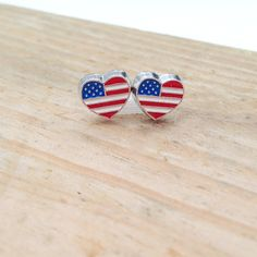 The perfect way to show your love for our country! Heart Earrings, Stud Earrings, Awesome Stuff, American Flag, January, My Etsy Shop, Hearts, Usa, Country