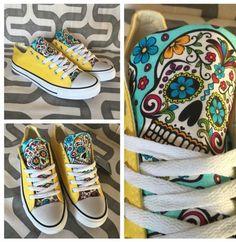 Sugar skull custom Chuck Taylor Converse shoes with new rare mint fabric Mens size 12, 13, or 14 by MizMaryMacks on Etsy https://www.etsy.com/listing/252889537/sugar-skull-custom-chuck-taylor-converse