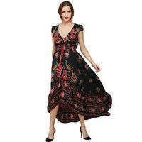 RUBU Women's Summer Long Maxi Beach Dress 2017 New Fashion vestidos Sexy V-neck Rose Flowers Printed Vintage Bohemian Dresses