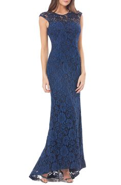 New Carmen Marc Valvo Infusion Lace Gown with Train, Lead fashion dress online. [$398]>>newtstyle Shop fashion 2017 <<