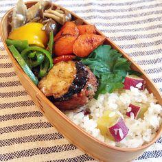 posted from @se_co おひるごはん さつまいもごはんと茄子の挟み焼き #obento #obentoart #bento #lunch #lunchbox #instafood #food #foodpic…