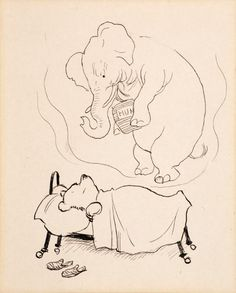 """SHEPARD, Ernest H. - Original drawing """"Pooh Meets a Heffalump"""" - Original artwork used to illustrate the chapter """"In Which Piglet Meets a Heffalump"""" on page 62 of """"Winnie-the-Pooh"""". With Shepard's pencilled caption. Pooh and Piglet set out to capture a """"heffalump"""" by leaving a pot of honey in a hole in the ground, and both spend a sleepless night imagining what the heffalump will be like. Provenance: from the collection of Pat McInally."""