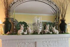 Pretty for Spring/Summer or Easter.  Love the small branches in the vases.