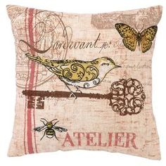 Embroidered cotton-blend pillow with French script accents.   Product: Pillow Construction Material: Linen blend cover and feather down fill Color: Multi   Features:  Designed by Kathryn White   Hidden zipper   Insert included    Dimensions: 12 x 12    Cleaning and Care: Spot clean