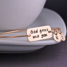 God Gave Me You Bangle Bracelet  - Gold from georgie designs personalized jewelry