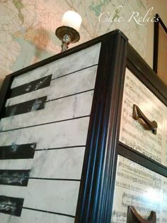 Music Sheet Decopagued To Metal Cabinets - Yahoo Image Search Results
