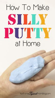 How to make silly putty with only two ingredients at home. This is a fun kids activity when they are bored. #kidsactivities