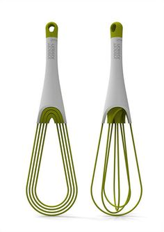 TWIST WHISK  As its name implies, this whisk flattens with the twist of its handle, to fit neatly inside tight kitchen drawers. Another bonus: It serves two functions, as both a balloon whisk, for whipping eggs into stiff peaks, and a flat whisk, for mixing sauces in shallow pans. It's available from Sur La Table for $9.95 in either green or rainbow.
