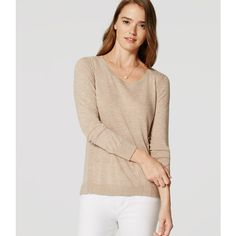LOFT Stitched Tunic Sweater (57570 IQD) ❤ liked on Polyvore featuring tops, sweaters, muted mocha melange, long sleeve scoop neck top, long sleeve tops, stitch sweater, stitch top and scoopneck top