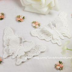 2 PCS 2 Layers Zakka Off White Embroidery Cotton by LaceDecoration, $5.50