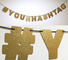 A snazzy way to display the hashtag for your wedding, party, marketing campaign, event, or other shindig! ❤ Custom made #(YOURHASHTAG) banner ❤ COLOR: