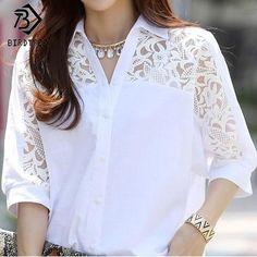 Women Clothing White Chiffon Lace Polo Shirts Plus Size Summer Shirt Size M Color 1 hashtags White Chiffon, White Lace, Lace Chiffon, Blouse Styles, Blouse Designs, Elisa Cavaletti, Summer Shirts, Look Fashion, Fashion 2018