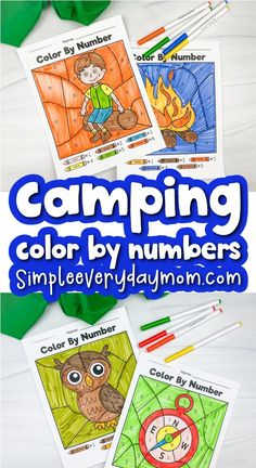 These camping color by number printables are a fun way to help kids work on fine motor skills and creativity! Download the free sample page and use it with preschool and kindergarten children.