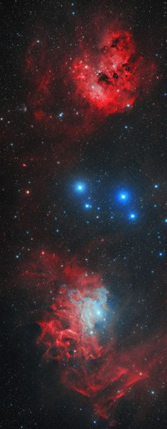 """astronomicalwonders: """"The Tadpoles and the Flaming Star"""" - Runaway Stars, Clusters, and Nebulae The Flaming Star Nebula - IC405, seen at the bottom - is an emission/reflection nebula that is close to the runnaway star AE Aurigae. AE Aurigae is bulletting through space at an abnormally high velocity relative to its nebula. The effects of its motion can be observed within nebula IC405. This image also contains IC410 - an emission nebula - which can be seen at the top of this image. IC410 is…"""