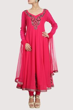 Bright pink colored georgette anarkali is worked in intricate pattern embroidery. Shop Now: www.karmik.in/shopping/index.php