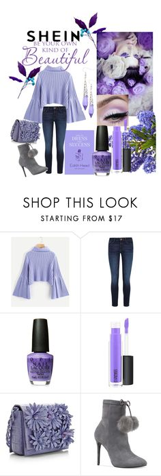 """""""""""PRETTIFUL IN PURPLES!""""--SHEIN RIB KNIT FLUTED SLEEVE JUMPER"""" by lensesrmything ❤ liked on Polyvore featuring DL1961 Premium Denim, MAC Cosmetics and Michael Kors"""