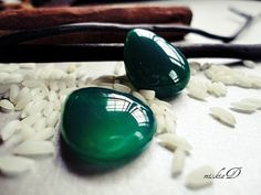 Emerald Green Chalcedony Pair , teardrop shape of joy...use as a pair of dangle earrings...why shouldn't you?