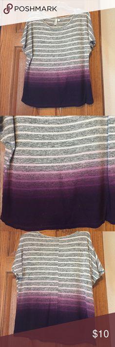 Ombré Boyfriend-fit Top Loose boyfriend-fit short sleeve top with ombré pattern transitioning to purple Hang Ten Tops Tees - Short Sleeve