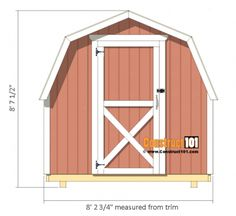 Shed Plans - Small Barn - Front View 10x12 Shed Plans, Shed Plans 12x16, Wood Shed Plans, Free Shed Plans, Wood Storage Sheds, Garden Storage Shed, Storage Shed Plans, 8x8 Shed, Shed Cabin
