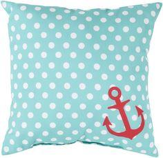 Wonderful fresh white polka dots on an aqua blue background with a small tomato red nautical anchor - #beachpillow #surya #nauticaldecor
