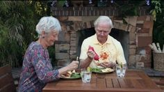 No one wants to see this old man's ketchup splatter on his shirt, and they certainly don't want to see any splatter in the toilet, that's why this couple uses the American Standard VorMax Toilet.