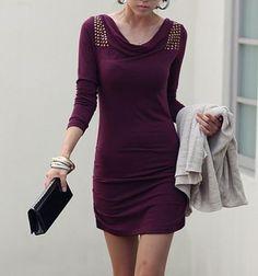 Stud Embellished Shoulder Knitted Dress