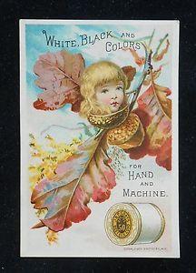 1880s Cute Girl Autumn Oak Leaf Acorn J P Coats Best Six Cord Thread VTC | eBay