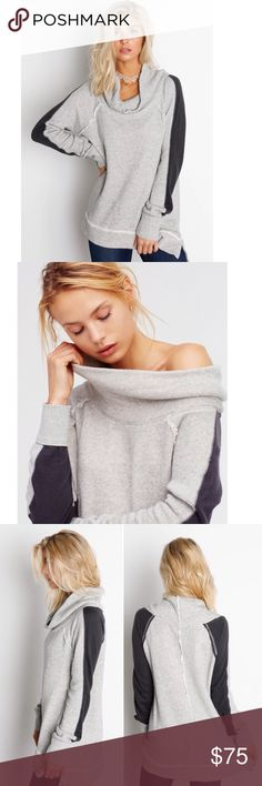 "Free People YoYo Pullover in Gray Cozy cotton pullover featuring an effortless, drapey neckline and contrast details on the sleeves. Raw edges create a lived-in look. Subtle side vents for an easy shape. 100% Cotton. Machine Wash Cold. Bust 43"", length about 26"". No trades. Reasonable offers considered. Free People Sweaters Cowl & Turtlenecks"