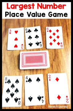7 Simple Math Card Games - Great place value game using playing cards. This math card game is easy to learn and set up. 7 Simple Math Card Games - Great place value game using playing cards. This math card game is easy to learn and set up. Easy Math Games, Math Card Games, Card Games For Kids, Math For Kids, Math Activities, Learning Games, Fb Games, Educational Games For Kids, Dice Games