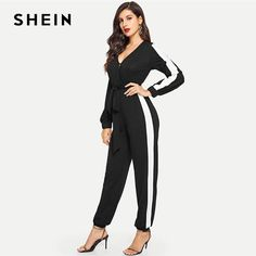 a5a689e34e SHEIN Black Deep V Neck Self Belted Colorblock Jumpsuit Elegant Tapered  Carrot Button Maxi Jumpsuits Women